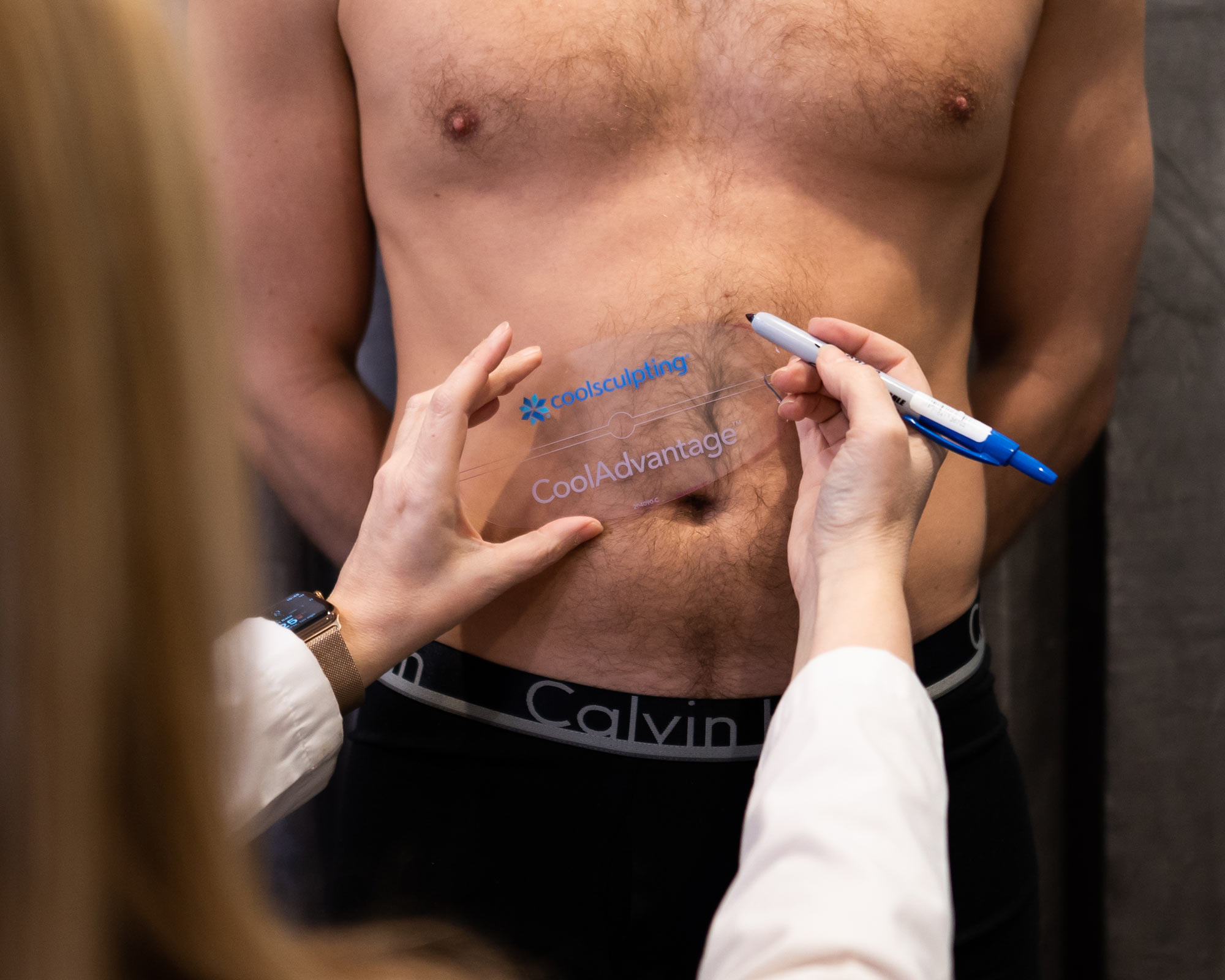 man preparing to do coolsculpting